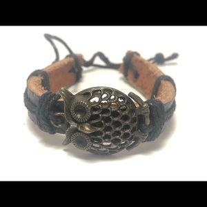 🦉 owl leather bracelet